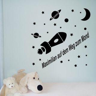 Wandtattoos Kinder Rakete Sterne Planeten Mond Sprüche Aufkleber