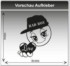 Heckaufkleber Auto **Bad Boy** Motiv Smiley mit Herz Basecap