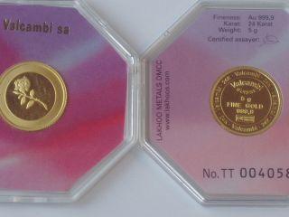gr 5 Gramm Goldbarren Feingold 999,9 Gold Barren Rose Dubai RUND
