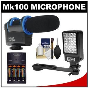 Hahnel Mk100 Uni Directional Microphone +LED Light DSLR Cameras Video