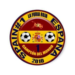 Campeón del mundo España futbol 2010 Round Stickers