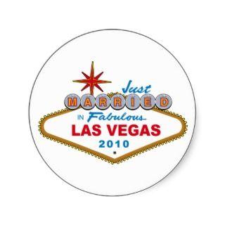 Just Married In Fabulous Las Vegas 2010 Sticker
