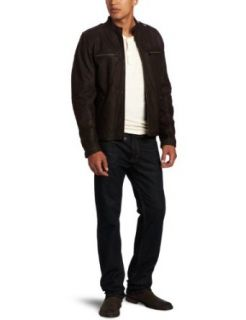 Levis Mens Leather Racer Jacket Clothing