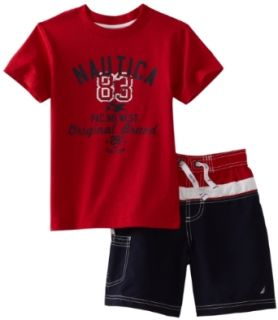 Nautica Sportswear Kids Boys 2 7 Rash Guard And Swim Trunk