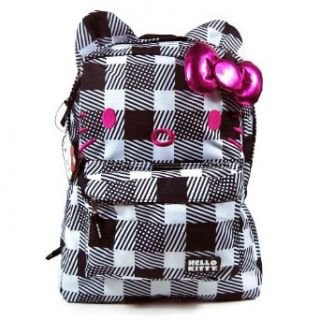 Hello Kitty Sanrio Black & White Plaid Print Bag Backpack