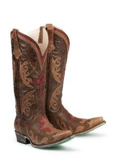 Boots Grace in Brown / Tan / Red Cross Design Cowgirl Boots Shoes