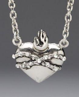 Rock Rebel Sacred Heart Bling Pendant Necklace Clothing