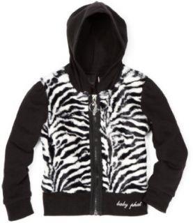 Baby Phat   Kids Girls 7 16 Zebra Faux Fur Hoodie Sweater