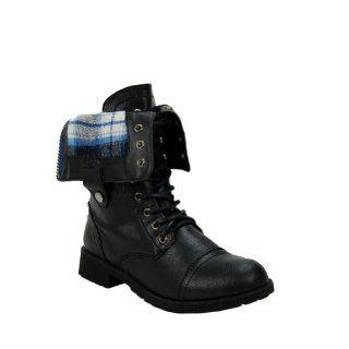 com Black Plaid Cuffed Military Boot Womens Shoe Size 10 US Shoes