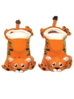 Tiger Baby Animal Booties by Wild Habitat   Orange   6 18 Mths Shoes