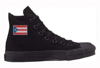 Taylor All Star Hi Top Black Monochrome with Puerto Rican Flag Shoes