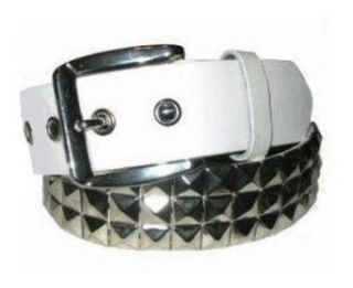 MENS/WOMENS METAL STUDDED WHITE PUNK BELTS 30 TO 44