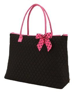 Extra Large Quilted Solid Pattern Tote Handbag (Black/Fuchsia) Shoes