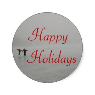 holiday skaters christmas stickers round stickers come in two sizes