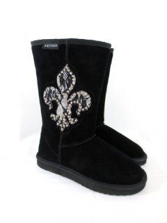 Cowgirl Bling Fleur De Lis Black Suede Leather Katydid Boots 7 Shoes