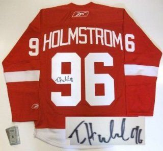 Tomas Holmstrom Autographed Jersey   Rbk Sports