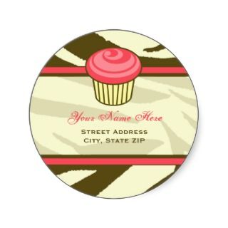 Cupcake Address Label   Brown Zebra Print Stickers
