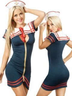 Sexy Sailor Girl Zip Front Mini Dress Costume Clothing