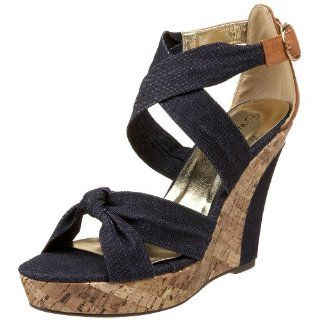 Wild Diva Womens Clarice 01 Wedge Sandal,Blue,5 M US Shoes