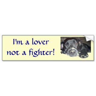 lover not a fighter pitbull sticker Bumper Sticker