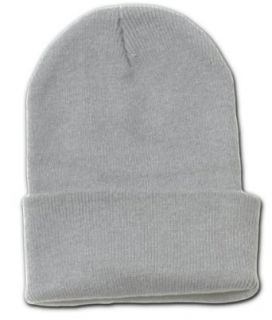 12 Lot (One Color) Long Beanies Wholesale  Grey: Clothing