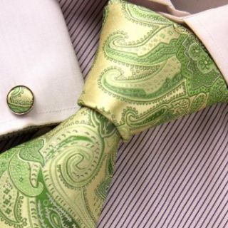 Green Paisley Necktie, Cufflinks Box Set Father Day Gift