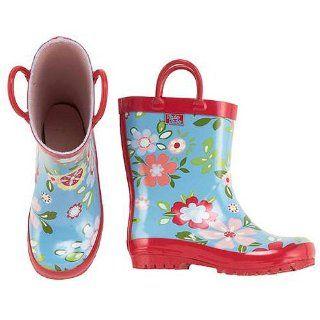 Toddler Little Girls Blue Floral Rain Boots 5 4 Pluie Pluie Shoes