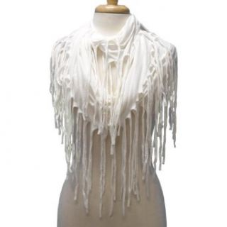 White Lightweight Long Fringed Infinity Scarf Clothing