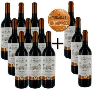 12 bouteilles dont 3 offertes)   Vin rouge   Sud ouest   Bergerac   12