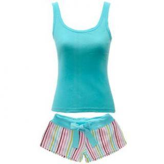 Aqua Ladies Cotton Tank Boy Short Pajama Set X Large