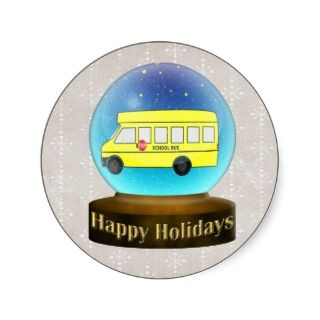 Snowsglobe school bus Christmas Gifts Stickers