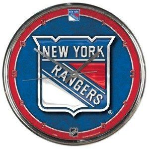 New York Rangers Round Chrome Wall Clock Sports