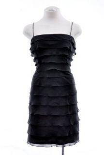 Tadashi Shoji Black Ruffle Tiered Silk Cocktail Dress