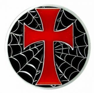 Round Black Spider Web with Red Cross Belt Buckle
