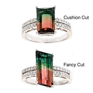 yach 14k Gold Multicolor Tourmaline and 1/3ct TDW Diamond Ring (G H
