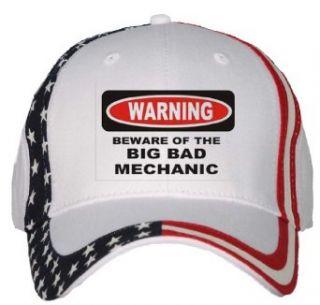 BEWARE OF THE BIG BAD MECHANIC USA Flag Hat / Baseball Cap