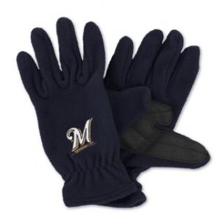 MLB Milwaukee Brewers Fleece Gloves (Navy, Mens