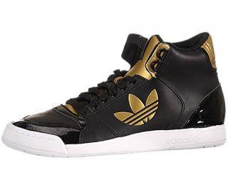 Court 2.0 Trefoil   Black / Metallic Gold / White, 6 B US Shoes