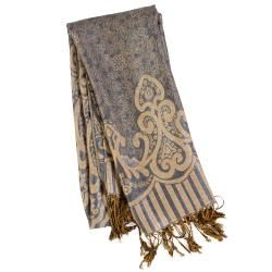 Adi Designs Womens Arabic Print Fringed Pashmina Shawl