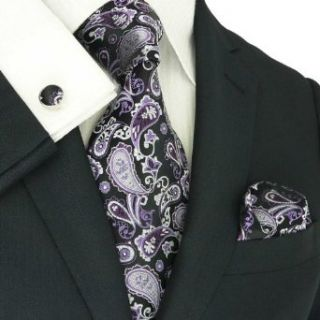 Landisun 66A Dark Purple Black Paisleys Mens Silk Tie Set