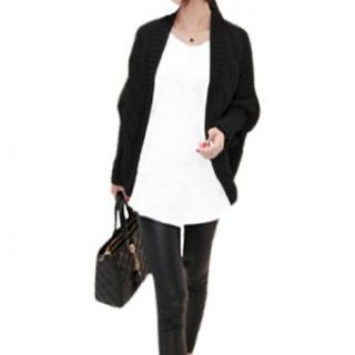 Allegra K Ladies Stretchy Batwing Cable Knitted Cardigan