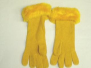 G1012, Gold Color Angora Gloves with Hand Crocheted Gold