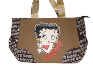 New Betty Boop Beach Handbag Dual Sided   Brown Khaki Shoes