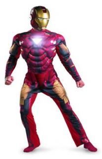 Imm2 Iron Man Mark 6 Light Up Deluxe Adult,Multi,XL (42 46) Clothing