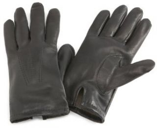 Isotoner Mens Water Resistant Smooth Leather Glove,Black
