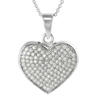Tressa Collection Sterling Silver Cubic Zirconia Heart Necklace MSRP