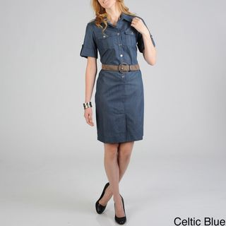 Sharagano Womens Denim Shirt Dress with Fashion Belt
