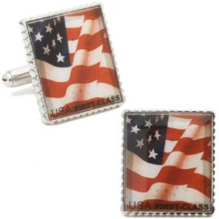 Rhodium Plated Silver American Flag Stamp Cufflinks