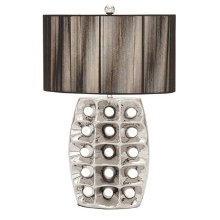 Casa Cortes Artisan 28 inch High Brushed Silver Ceramic Table Lamp