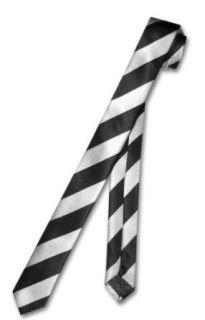 Skinny Narrow Neck Tie Silver Black Diagonal Stripes